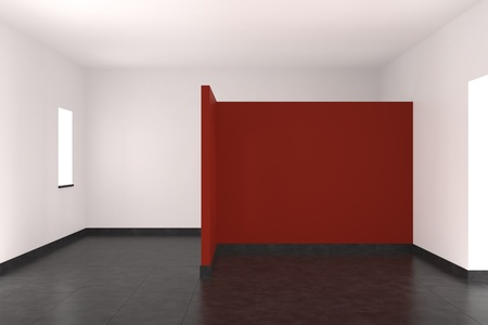 modern empty interior with red wall tiled floor and window Stock fotó - 9738514