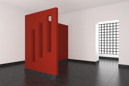 modern empty interior with red wall and window Stock Photo - 9738518