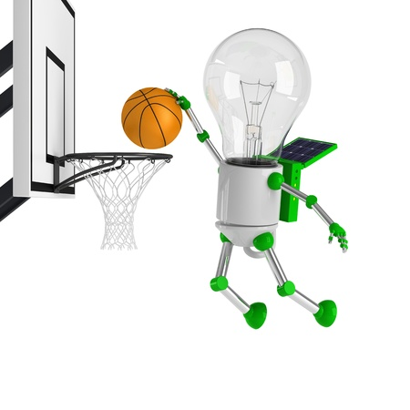 solar powered light bulb robot - basketball Stock Photo