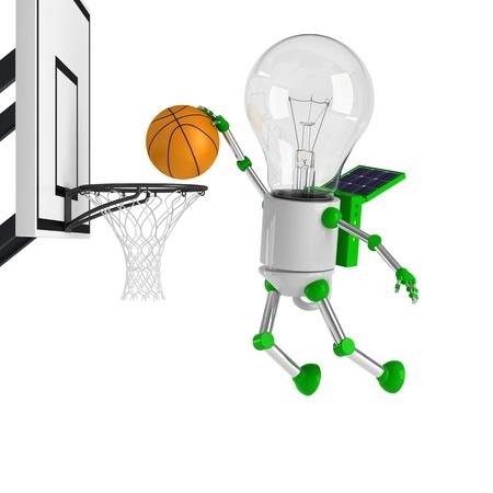 powered: solar powered light bulb robot - basketball Stock Photo
