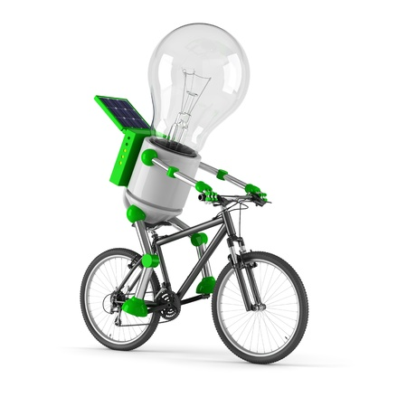 solar powered light bulb robot - cycling Stock Photo - 10024616