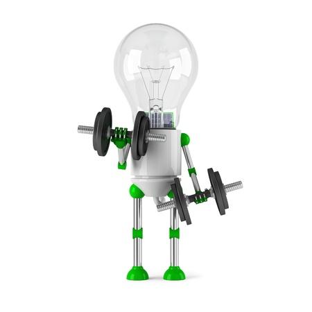 powered: solar powered light bulb robot - fitness Stock Photo