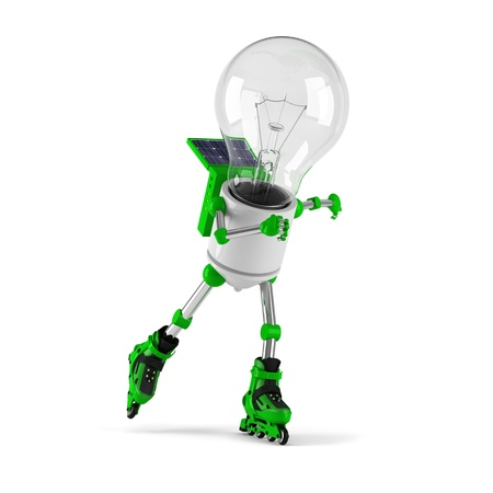 solar powered light bulb robot - roller skating photo