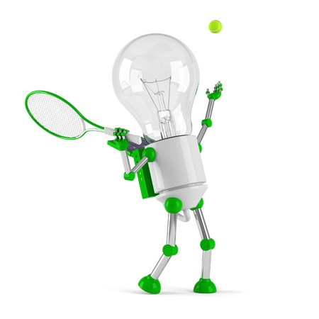 powered: solar powered light bulb robot - tennis