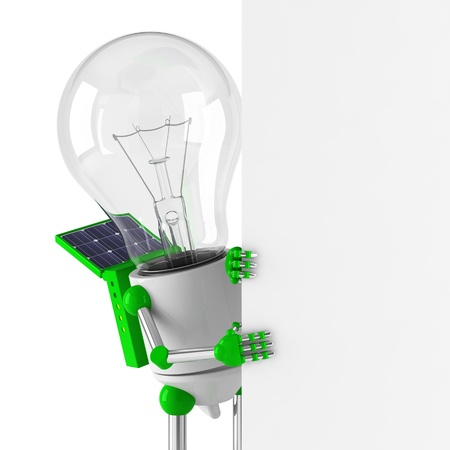 Solarbetriebene Glühbirne Roboter - blank billboard Standard-Bild - 10024618