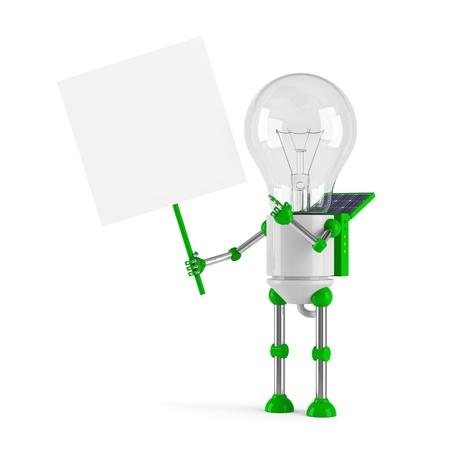 powered: solar powered light bulb robot - blank placard