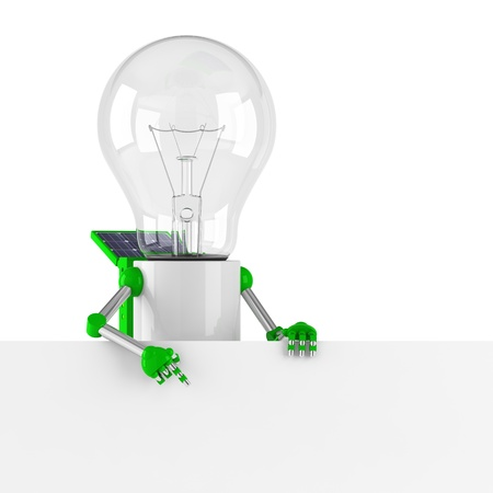 powered: solar powered light bulb robot - blank banner