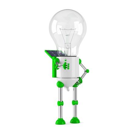 powered: solar powered light bulb robot - thumbs up Stock Photo