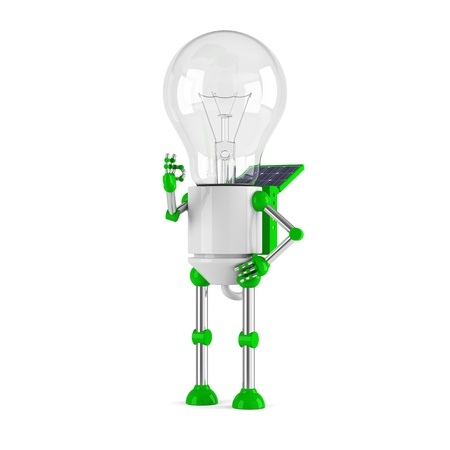 powered: solar powered light bulb robot - ok