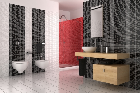 bowl sink: modern bathroom with black, red and white tiles
