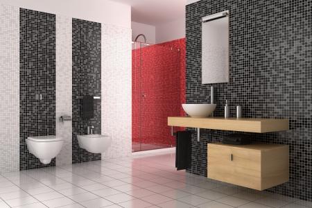 salle de bains: salle de bain moderne avec du noir, carreaux rouges et blancs