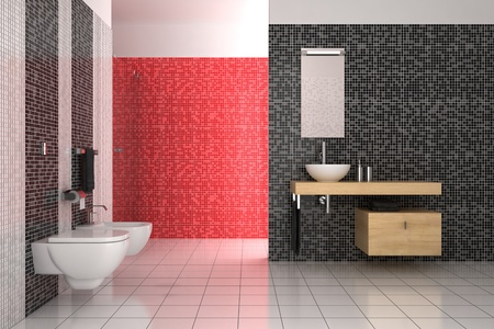 minimalist apartment: modern bathroom with black, red and white tiles