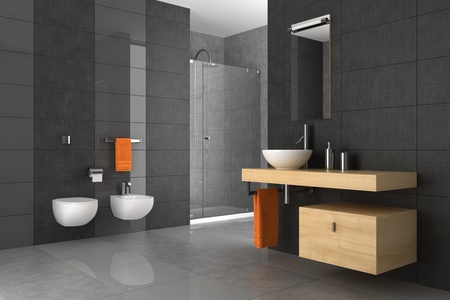 salle de bains: salle de bains en mosa�que avec des meubles en bois