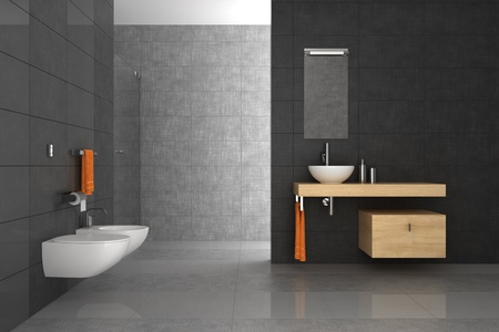 tiled bathroom with wood furniture photo