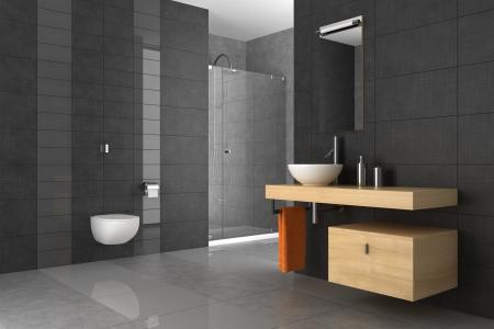 salle de bains: salle de bain carrel�e avec meubles en bois
