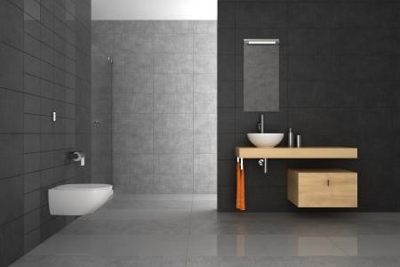 Betegelde badkamer met houten meubilair Stockfoto - 10814892