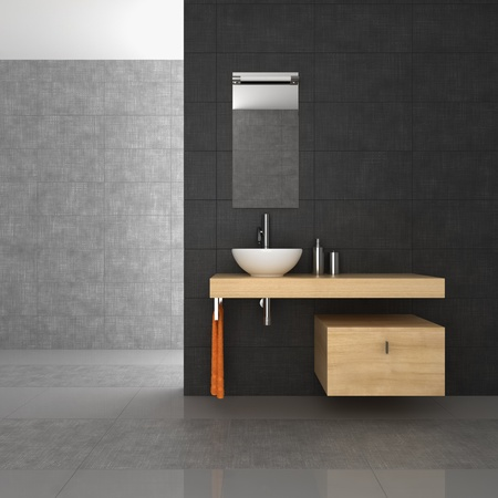 tiled bathroom with wood furniture Stock Photo - 10814893