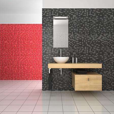 bathroom tiles: bagno moderno con nero, mattonelle rosse e bianche