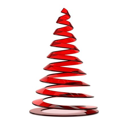 Stylized Christmas tree in red glass, isolated on white background.