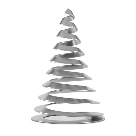 Silver stylized Christmas tree, isolated on white background. Stock Photo