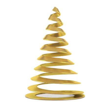 christmas tree illustration: Gold stylized Christmas tree, isolated on white background.