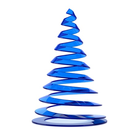 Stylized Christmas tree in blue glass, isolated on white background.
