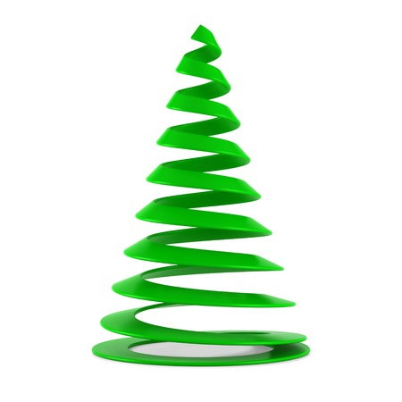 Stylized Christmas tree in green plastic, isolated on white background.
