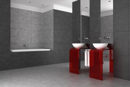 tiled bathroom with double basin and bathtub photo