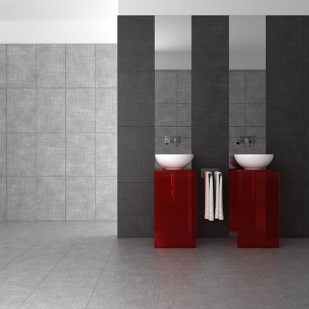 tiled bathroom with double basin and glass furniture photo