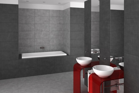tiled bathroom with double basin and bathtub photo