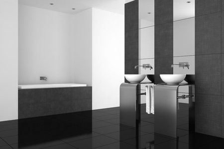 modern bathroom with double basin and black floor photo