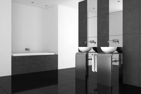 bad fliesen: modernes Bad mit zwei Waschbecken und schwarzen Boden