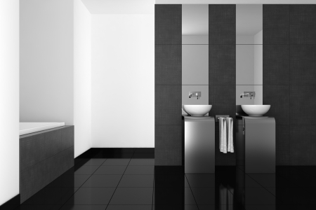 bathroom tile: modern bathroom with double basin and black floor  Stock Photo