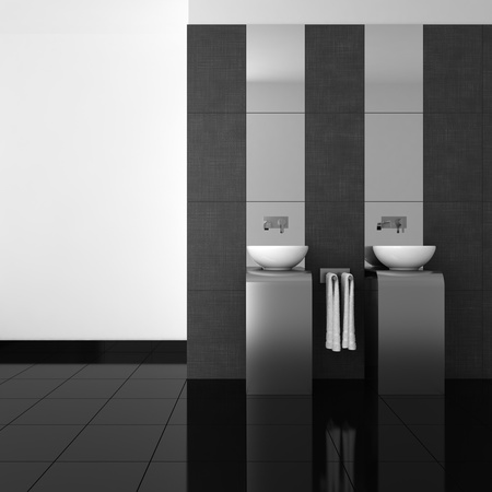 modern bathroom with double basin and black floor  Reklamní fotografie