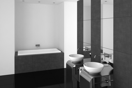 bathtubs: modern bathroom with double basin and black floor Stock Photo