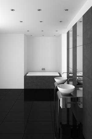 Moderne badkamer met dubbele wastafel en zwarte vloer Stockfoto - 11770582