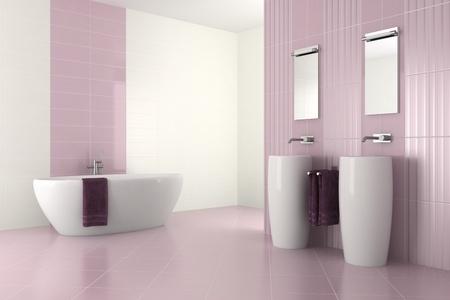 ba�o p�rpura moderno con doble lavabo y ba�era - 3D render photo
