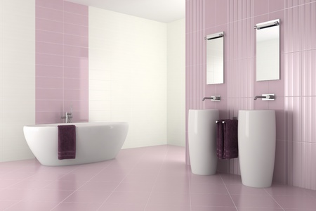 basin: purple modern bathroom with double basin and bathtub - 3D render Stock Photo