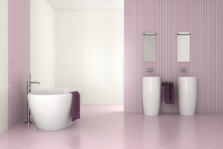 purple modern bathroom with double basin and bathtub - 3D render photo