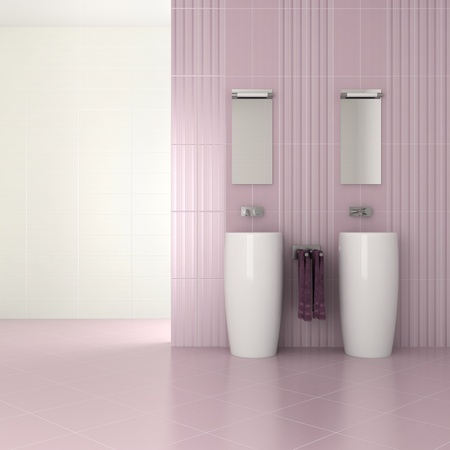 basin: purple modern bathroom with double basin - 3D render Stock Photo