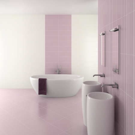 purple modern bathroom with double basin and bathtub - 3D render Stock Photo