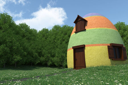 fantasy egg house on blooming meadow photo