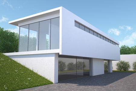 house render: Modern house with garden, exterior view
