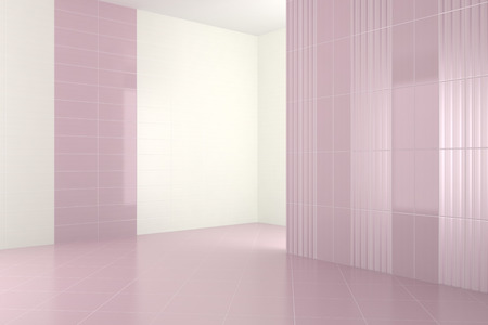 empty modern bathroom with purple tiles, 3d render photo
