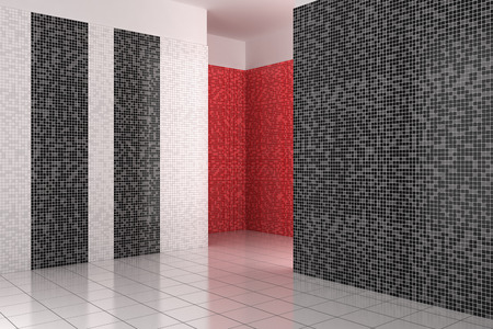 Vide Salle De Bains Moderne Avec Des Carreaux De Mosaïque En Noir ...