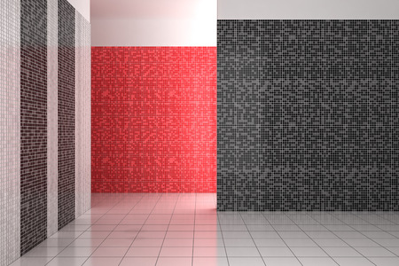 empty modern bathroom with mosaic tiles in black, white and red color photo
