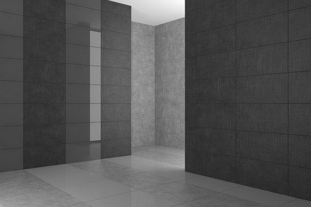 empty modern bathroom with gray tiles photo