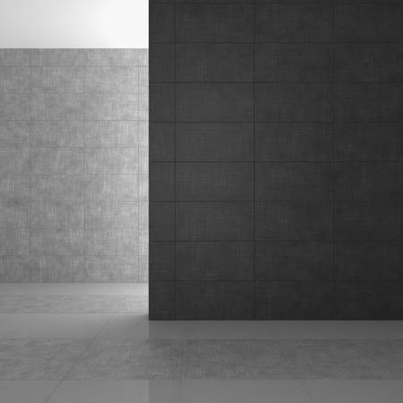 Leer modernes Badezimmer mit grauen Fliesen Standard-Bild - 28073271