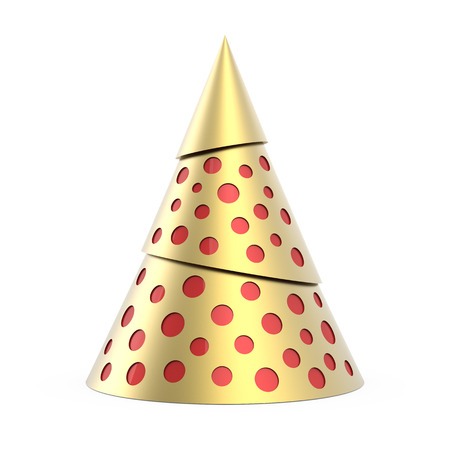 Gold stylized Christmas tree with red decoration, isolated on white background photo