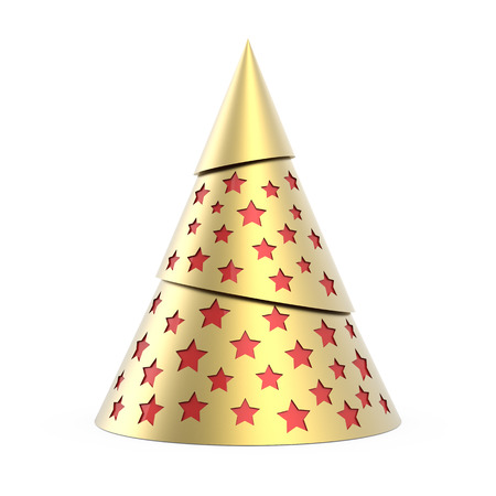 Gold stylized Christmas tree with red stars, isolated on white background photo